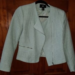 H&M mint & silver tweed jacket